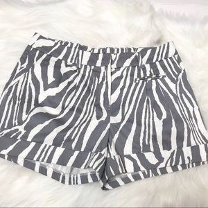 FOREVER 21 Pleated Cuffed Zebra Print Mini Shorts